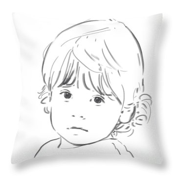 Throw Pillow featuring the drawing Sweet Girl by Olimpia - Hinamatsuri Barbu