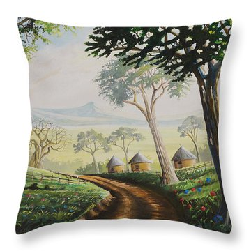 Throw Pillow featuring the painting Sweet Home by Anthony Mwangi