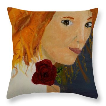 Sweet Lady Holding A Rose Throw Pillow by Pamela  Meredith