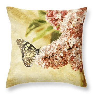 Sweet Lilacs Throw Pillow by Lois Bryan