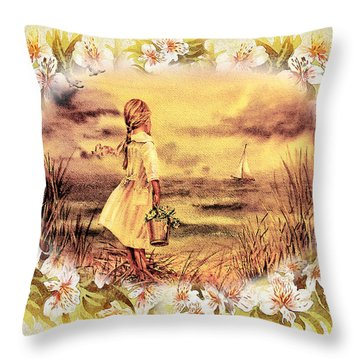 Throw Pillow featuring the painting Sweet Memories A Trip To The Shore by Irina Sztukowski