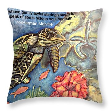 Throw Pillow featuring the mixed media Sweet Mystery Of This Sea A Hawksbill Sea Turtle Coasting In The Coral Reefs 2 by Kimberlee Baxter