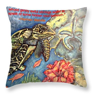 Throw Pillow featuring the painting Sweet Mystery Of This Sea A Hawksbill Sea Turtle Coasting In The Coral Reefs by Kimberlee Baxter