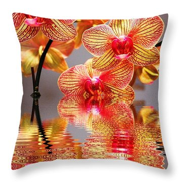 Sweet Orchid Reflection Throw Pillow by Judy Palkimas