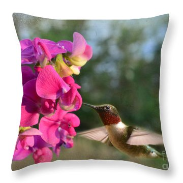 Sweet Pea Hummingbird Throw Pillow by Debbie Portwood