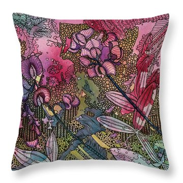 Sweet Peas In Bloom Throw Pillow