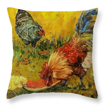 Sweet Pickins, Chickens Throw Pillow