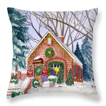 Sweet Pierre's Chocolate Shop Throw Pillow by Rhonda Leonard