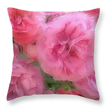 Throw Pillow featuring the mixed media Sweet Pink Roses  by Gabriella Weninger - David