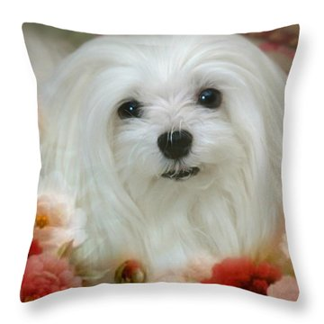 Sweet Snowdrop Throw Pillow by Morag Bates