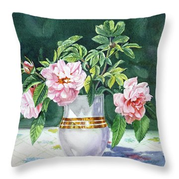 Throw Pillow featuring the painting Sweet Tea Roses Bouquet by Irina Sztukowski