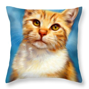 Sweet William Orange Tabby Cat Painting Throw Pillow