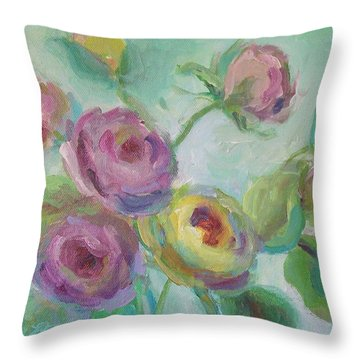 Throw Pillow featuring the painting Sweetness Floral Painting by Mary Wolf