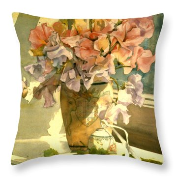 Sweetpea On The Windowsill Throw Pillow by Julia Rowntree