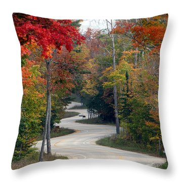 Swervy Road At North Port Throw Pillow