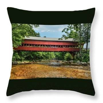 Throw Pillow featuring the photograph Swift River Covered Bridge Hew Hampshire by Debbie Green
