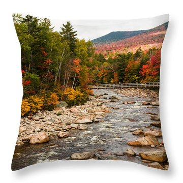 Throw Pillow featuring the photograph Swift River Painted With Autumns Paint Brush by Jeff Folger
