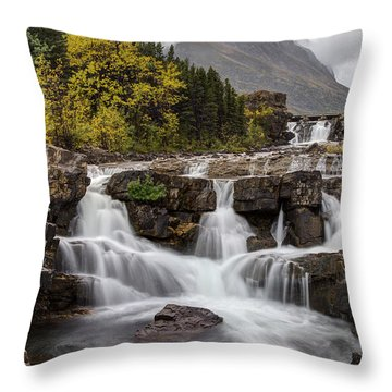 Swiftcurrent Falls In Autumn Throw Pillow