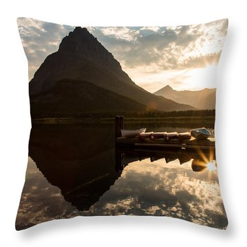 Swiftcurrent Lake Boats Reflection And Flare Throw Pillow