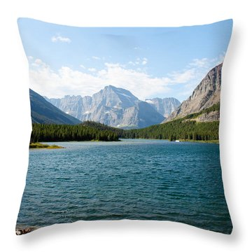 Swiftcurrent Lake Throw Pillow by John M Bailey