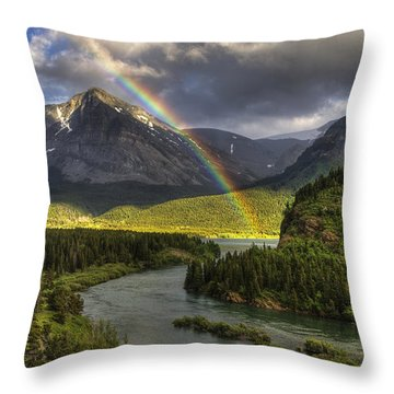 Swiftcurrent River Rainbow Throw Pillow