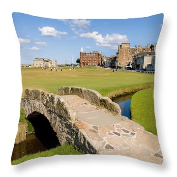 Swilcan Bridge On The 18th Hole At St Andrews Old Golf Course Scotland Throw Pillow by Unknown