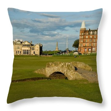 Swilken Bridge Throw Pillow by Jeremy Voisey