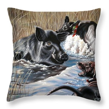 Swimmer's Ear Throw Pillow by Monica Turner