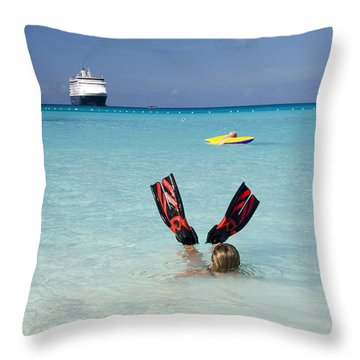 Swimming At A Caribbean Beach Throw Pillow by David Smith