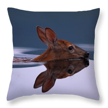 Swimming Fawn Throw Pillow