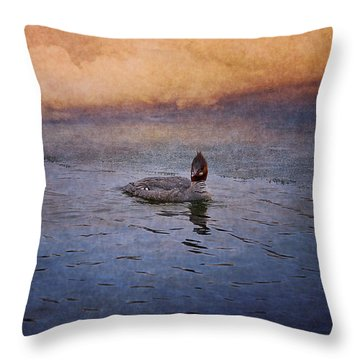 Swimming In A Frozen Lake Throw Pillow