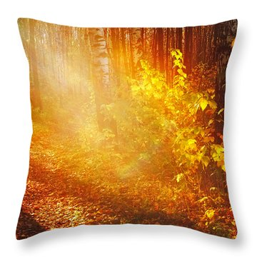 Swimming In Golden Light Throw Pillow by Jenny Rainbow