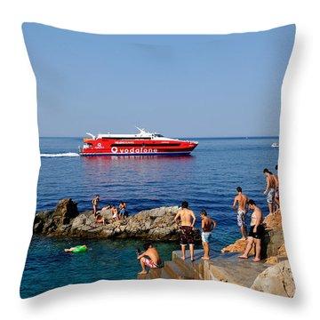 Swimming In Hydra Island Throw Pillow by George Atsametakis