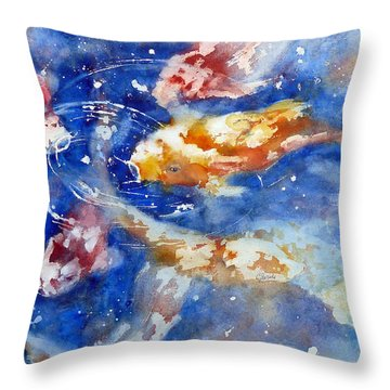 Swimming Koi Fish Throw Pillow