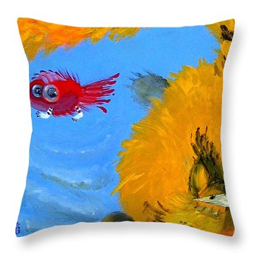 Swimming Of A Yellow Cat Throw Pillow by Marina Gnetetsky