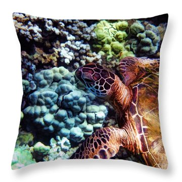 Swimming With A Sea Turtle Throw Pillow by Peggy Hughes