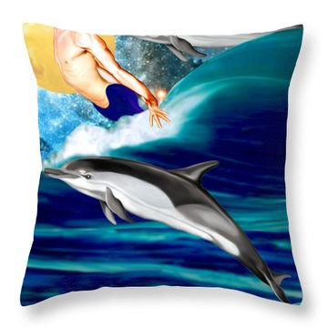 Swimming With Dolphins Throw Pillow