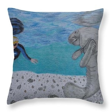 Swimming With The Manatee Throw Pillow