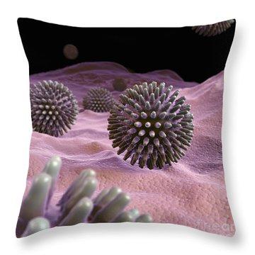 Swine Influenza Virus H1n1 Throw Pillow