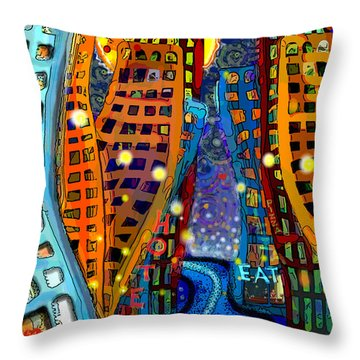 Swing City Throw Pillow by Carol Jacobs