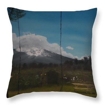 Throw Pillow featuring the painting Swing On Mt Hoods Fruit Loop by Ian Donley