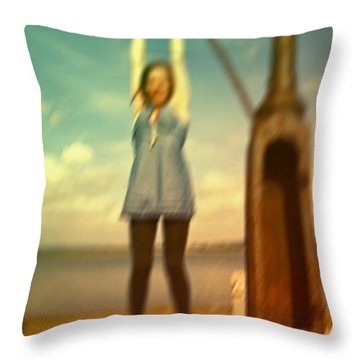 Throw Pillow featuring the photograph Swinging From Lampost  by Craig B