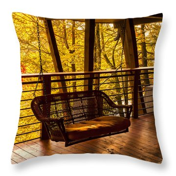 Swinging In Autumn Trees Original Photograph Throw Pillow by Jerry Cowart