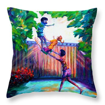 Swinging With Friends Throw Pillow by Naomi Gerrard