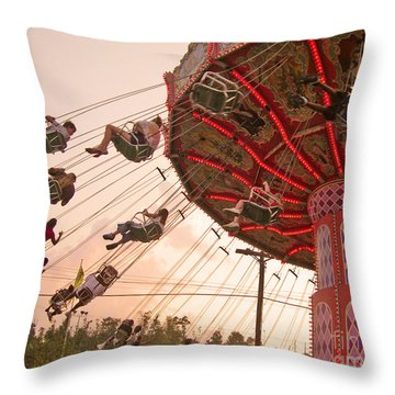 Swings At Kennywood Park Throw Pillow