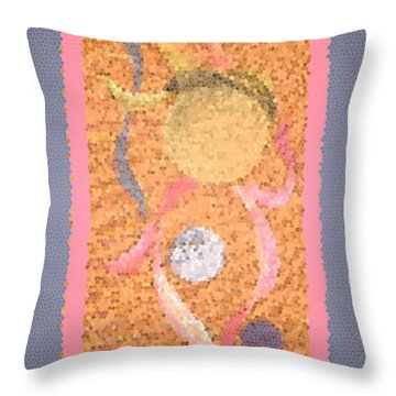 Swirl Body Bubble Person Dancing With Ribbons Twirling Throw Pillow by Kristie Hubler