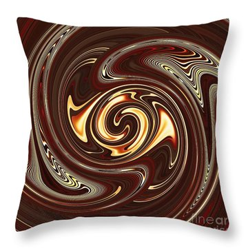 Swirl Design On Brown Throw Pillow by Sarah Loft