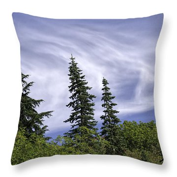 Swirling Clouds Crooked Trees Throw Pillow
