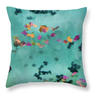 Swirling Leaves And Petals 1 Throw Pillow by Scott Campbell