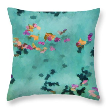 Swirling Leaves And Petals 5 Throw Pillow by Scott Campbell